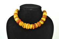 Antique Baltic Amber necklace old honey butterscotch egg yolk color, vintage, 59 gram