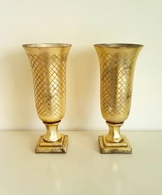 Pair of silver cut glass vases, 20th century, Belgium