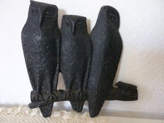 Heavy cast iron wall picture - three owls - Germany - first half of 20th century