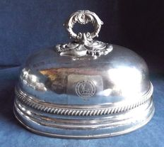 Antique English cloche food cover in Sheffield Silver, Crested family platter, circa 1790