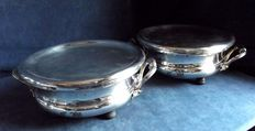 Old pair of plate warmers in antique Christofle decorated Silver Plate, C1900