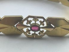 Antique Jugendstil bracelet, UNION & A*D red gold double with ruby from around 1900