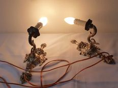 Pair of French brass wall lights, 20th century, France