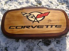 Corvette - Large handmade logo and name sculpted in wood - 65,5 cm x 37 cm