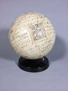 Globe with lithographed texts