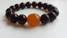 Baltic Amber bracelet with dark cherry red beads