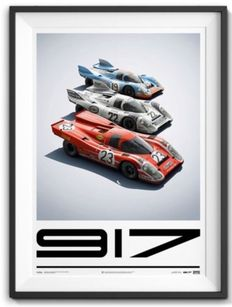 Porsche Collection fine art print - Porsche 917's - Le Mans 1970 & 1971 Porsche 917 #23,Porsche 917 MARTINI #22 and Porsche 917 GULF #19 - 50 x 70 cm
