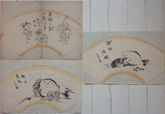 """Three woodblock prints in fan-shape, with interesting images, including the mythical kappa and a """"shy lion"""" - Japan - around 1900."""
