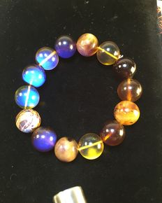 Burmese amber colorful bracelet