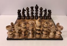 Giant olive wood chess set
