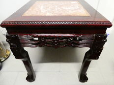 Side table in iron wood and marble - China - mid 20th century.