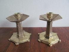 Two bronze table candlesticks
