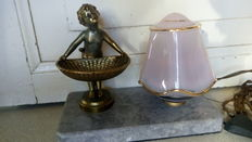 Art Deco style Lamp in glass & bronze child with basket, 1950, France