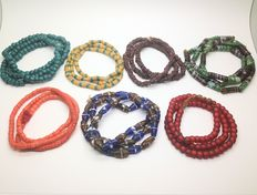 7 African necklaces made from handmade Krobo sand glass beads