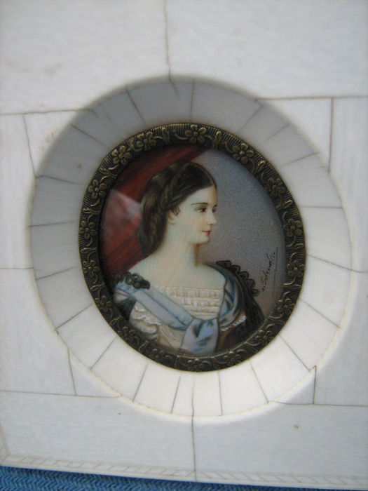 "Portrait miniature of, presumably, Kaiserin Elisabeth ""Sissi"" in ivory frame -early 20th century"