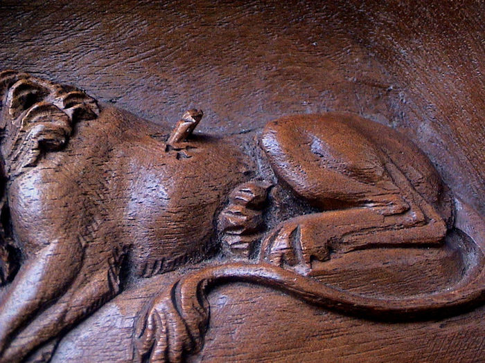 Antique swiss carved wooden bas relief of the dying lion