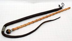 "Two rare Riding Crops Canes - Bamboo With Tiger's Eye End And Silver Mount - Leather ""Wilkinsons"" - 1880 - 1900"
