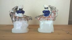 , Dudson (?) - Pair of Staffordshire children on goats