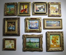 Collection of 10 miniature works - Hand-painted