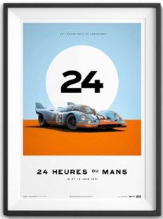 Porsche Collection fine art print - GULF Porsche 917 #19 - 24 heures du Mans 1971 - 70 x 50 cm