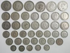 United Kingdom - 3 Pence to Florin 1920/1946 George V and VI (40 coins) - silver