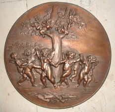 """""""Dancing angels and musicians"""" bronze plaque, Italy, early 1900s"""