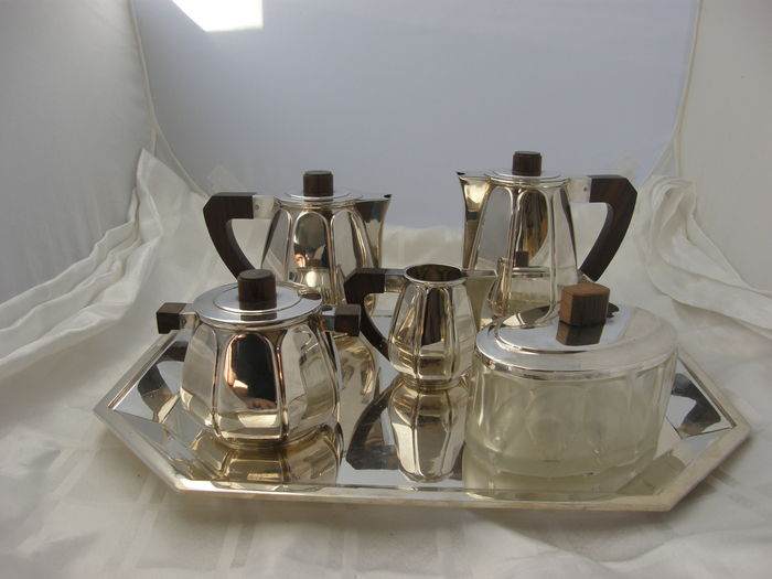 Luc Lanel - Koffie- en thee servies op blad, Christofle - Art Deco
