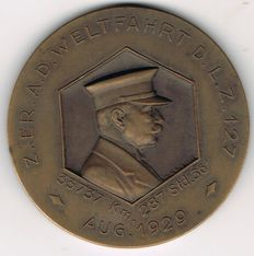 "Germany, Weimar Republic - Bronze Medal 1929 by Mayer & Wilhelm, Stuttgart Graf Zeppelin on the World Flight of  the ""LZ 127"""