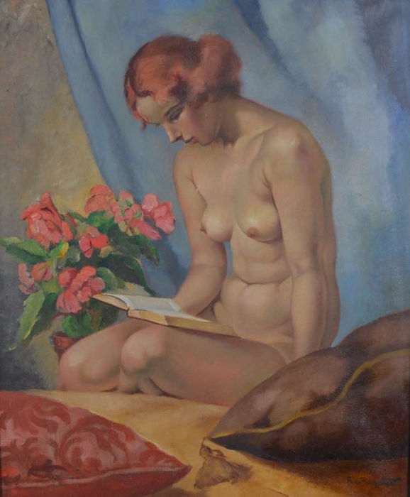 Phillipe De Rougemont (1891-1965) - A nude woman reading a book.