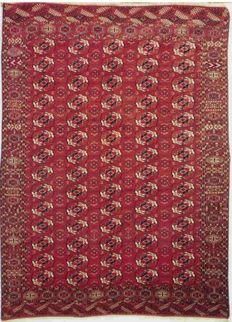 Antique Persian Bokhara carpet, circa 1880.
