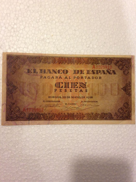 Spain - 2x 100 pesetas from 20th May 1938 and 9th January 1940