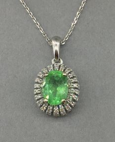 Gold necklace with emerald and diamonds pendant