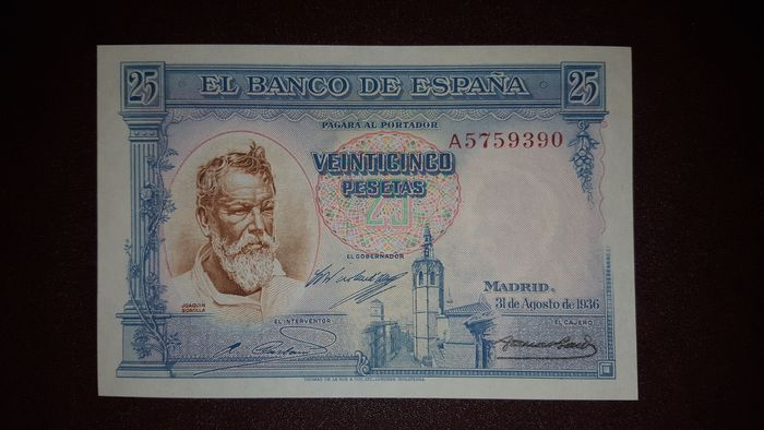 Spain - 25 Pesetas 31st August 1936 - Pick 87b -Series A