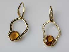 18 kt gold earrings with citrine quartz and diamonds