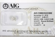 Diamond, 0.89 ct, no reserve price
