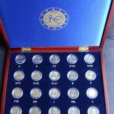 Europe – €2, 2009 '10th anniversary of the EMU' (20 pieces) from 16 countries – in cassettes