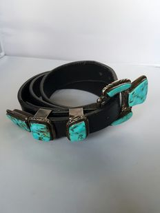 Navajo belt with silver buckle, with turquoise (Carico Lake) - handmade by Navajo master Platero