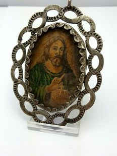 Silver double-sided Portrait Relics amulet ca; 1800 / 1850