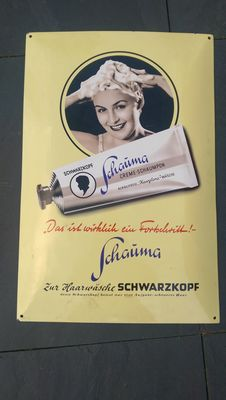 Schwarzkopf limited edition enamel advertising sign-2002