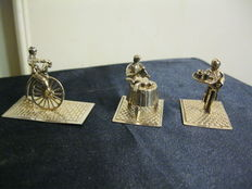 Three silver miniatures:  MN on bicycle butcher and a waiter, Netherlands, 20th century