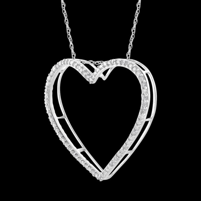 18kt white gold brand new heart shaped diamond pendant with round 18kt white gold brand new heart shaped diamond pendant with round brilliant diamonds 025ct aloadofball Gallery