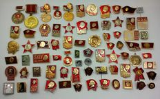 A collection of badges with the image of Lenin, the communist leader of the USSR (80 pieces)