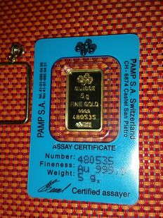 5 grams gold bar -  999.9 gold - with cerificate - and 14ct  - gold frame