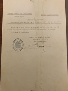 Official notice of the end of the Spanish Civil War