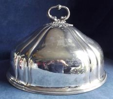 Large cover for food and cakes in English Sheffield Silver with dolphin-shaped handle, circa 1875