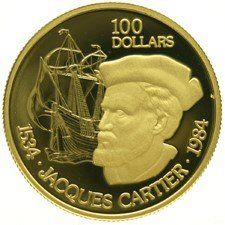 "Canada – 100 Dollars 1984 ""Jacques Cartier"" – gold, in cassette"