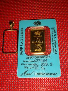 Gold  bar - 10  grams -  999.9/1000 - with certificate - and 1.40 grams frame 14ct - gold