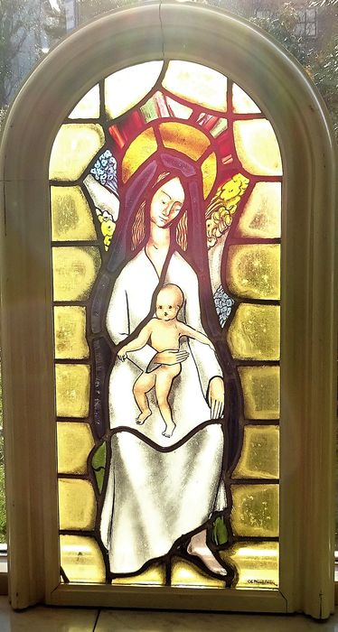 Old stained glass window from a church - Mary and Jesus - Signed - Belgium