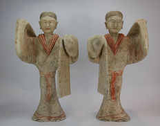 Pair of grey painted pottery figures represent the  elegant dancers with elongated sleeves - 59 cm
