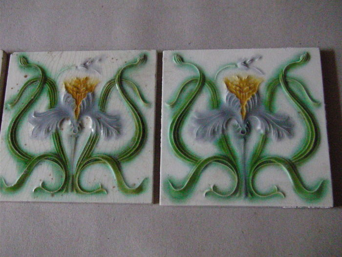Art Deco Tegels : Gilliot & cie 50 art nouveau tiles catawiki